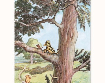 "Winnie the Pooh Art (Woodland Nursery Wall Print, Classic Book Decor, Girl Baby Shower Boy) Pooh Bear Artwork -- ""Tiggers Can't Climb Trees"""