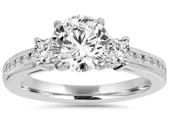 Diamond Engagement Ring, 3 Stone Diamond Ring, Solitaire Diamond Engagement Ring 2.25CT Round Diamond Engagement Ring 14k White Gold