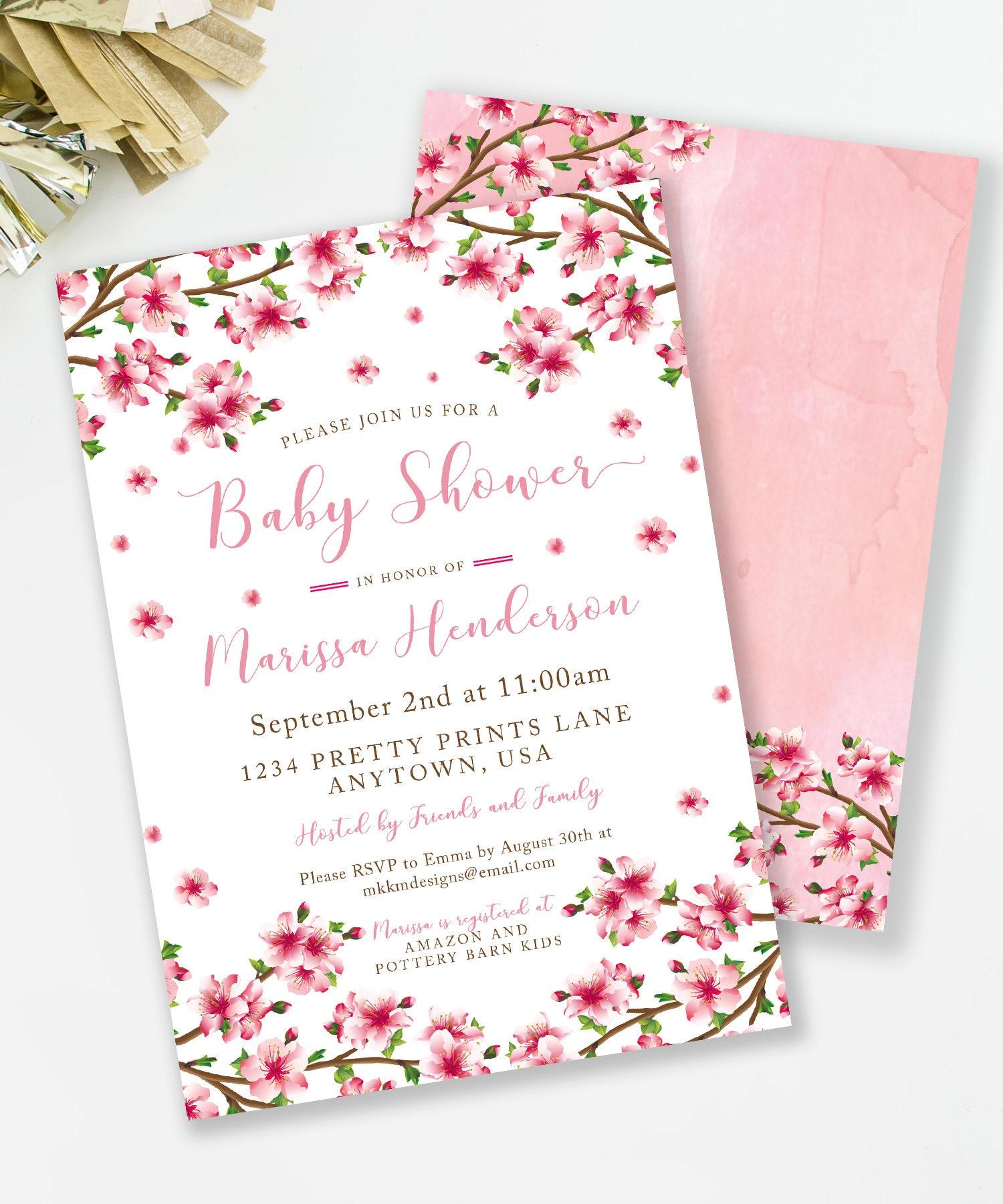 Cherry Blossom Invite Cherry Blossom Baby Shower Baby Shower