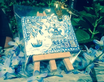 Minitiature blue painting in willow pattern style-minitiature painting-handpainted mini painting