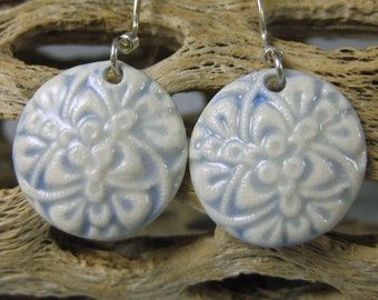 Ceramic Earring French Blue Porcelain Earrings With Sterling Silver Earwires Design 1