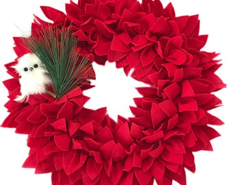 40% OFF SALE! christmas wreath red poinsettia wreath, felt wreath christmas, poinsettia wreath - christmas, christmas wreath for front door