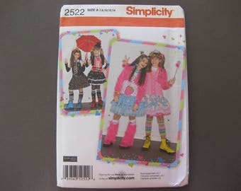 Simplicity 2522 Size A 7-14 Sewing Pattern Girls Costumes Uncut