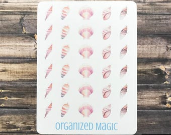 seashell planner stickers, shell planner stickers, shell stickers, beach stickers