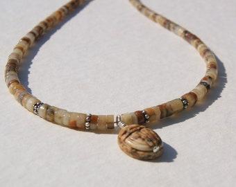 Golden Brown Gemstone Scarab Heishe Choker Necklace