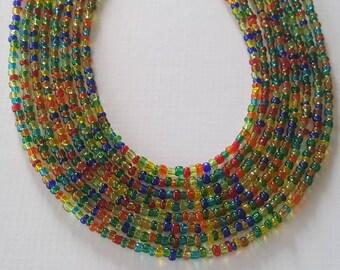 Transparent multi seed bead necklace - boho seed bead necklace - multicolor seed bead necklace - seed bead necklace - boho - boho necklace