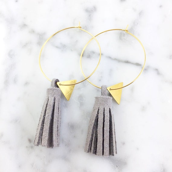 Hoop, gray, glands earring, ring, gold, silver, nickel free, triangle, 3,5cm, les perles rares