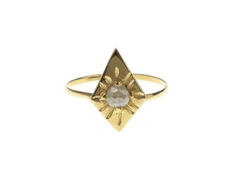 H A N D M A D E / ARUN radiant starburst ring from The Rajah Press / 14k with a rose cut diamond