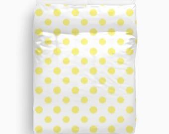 Yellow Duvet Cover, Ikat Bedding, Polka Dot Duvet, Girls Bedroom Decor, Teen Girl Room Decor, Dorm Room, Twin Duvet Cover, Queen, King