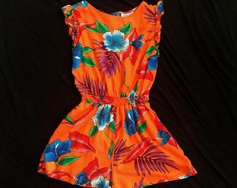SHOP SALE Vintage 80s 90s Cotton Tropical Romper