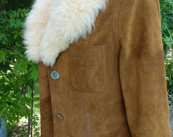 Vintage Shearling Lambswool Collar on Rust Suede Jacket with Vintage Buttons with Patina