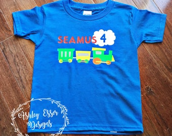 Train Birthday Shirt, Boy Birthday, 4th Birthday, Personalized Birthday Shirt, Birthday, Birthday Shirt, Trains
