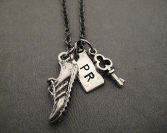 I Hold The Key to My Running PR - Runner's Personal Record Necklace - Handmade Nickel Silver PR Charm, Pewter Shoe and Key on Gunmetal Chain