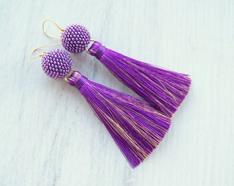 Silk Tassel Earrings - Long Fringe ultra violet and gold tassels - Lightweight modern tassle earrings - Bohemian purple Statement Earrings