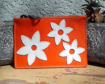 Leather Wallet With White Flowers Aplique - Small Orange Leather Wallet - Leather Coin Purse