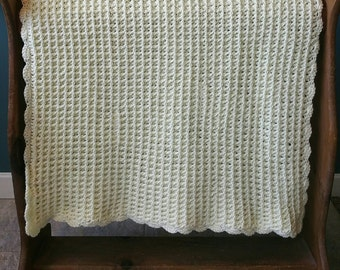 Cream Waffle Stitch Baby Afghan With Scallop Border - Ready to be Shipped