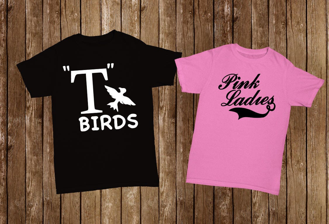 His and Hers T-shirts: Grease T Birds/ Pink