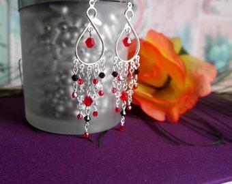 chandelier earrings - red