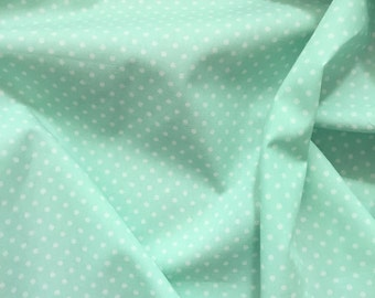 Mint green and white 3mm spot polka dot 100% cotton poplin fabric Rose and Hubble BY HALF METRE