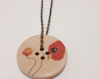 Poppy Flower Wood Button Necklace