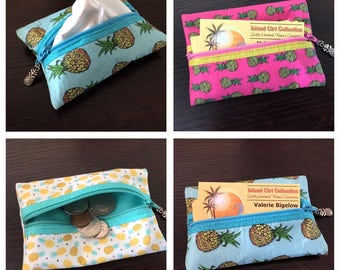 Zippered Pouch, Tissue Holder, Business Card Holder, Credit Card Holder, Coin Pouch in Pineapples Galore - Made in Maui