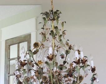 Floral chandelier etsy quick view incredible xlrg italian tole floral chandelier aloadofball Gallery