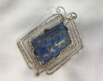 Lapis Sterling wire Pendant