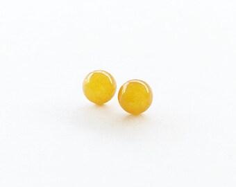 Yellow Jade Earrings/ Tiny Stud Earrings/ Cabochon Earrings/ Small Stud Earrings/ Tiny Earrings/ Small Earrings/ Dot Earrings/ Post Earrings