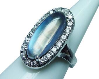 Vintage 14K White Gold Moonstone Halo Diamond Ring Giant Estate