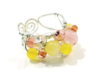 Fairytale Wire Beaded Ring in Pink and Yellow Fantasy Adjustable #1185