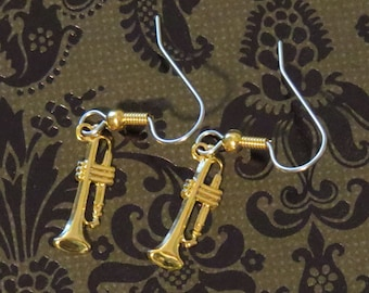 Trumpet Earrings Small 24 Karat Gold Plate Horn Band Symphony Orchestra EG490