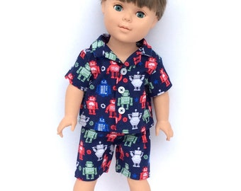 18 Inch Boy Doll Robot Pajamas, Navy Blue Doll Shirt and Shorts with Robot Print, Boy Doll Pyjamas, 18 Inch Doll Clothes