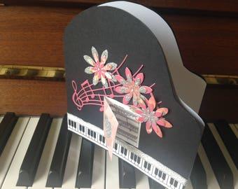 Baby Grand Piano Card - Rose Damask
