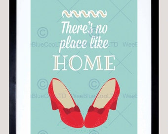 Quote Typograph Text No Place Like Home Dorothy Art Print Poster FEHP1881