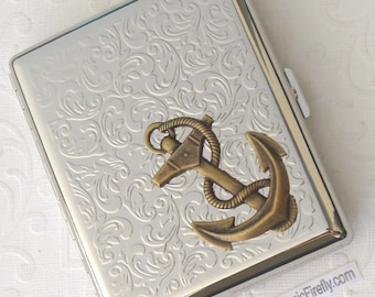 Big Brass Anchor Cigarette Case Steampunk Cigarette Case Nautical Cigarette Case Silver Case Double Size Big Size Large Cigarette Case New