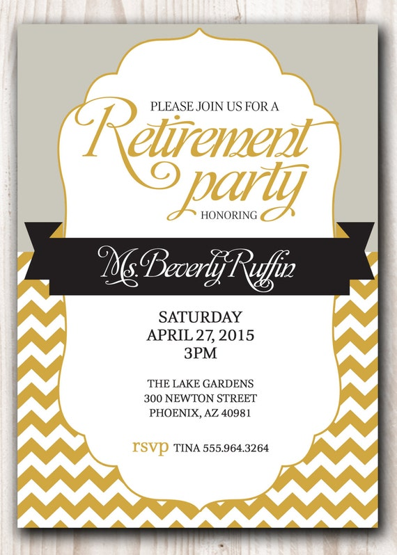 Retirement Party Invitation Gold And Silver Or Pick Any Color