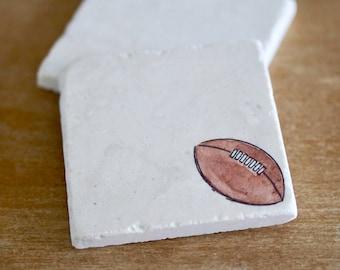 Football marble coasters / football gift/ dad gift/  sports gift/ football team/ tile coaster/ stone coaster/ drink coaster/ tumbled marble