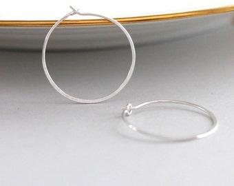 Silver Hoop Earrings, Endless Hoops, Recycled Sterling Silver Hoops, Thin Silver Hoops, Lightweight Earrings, 1 Inch Hoop Earrings, Hammered