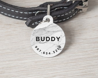 Personalized Pet Tag, Round Pet Tag, Custom Cat Tag, Dog Tag, Custom Pet Tag, Pet Name Tag, Custom Dog Tag, White Marble Print, Tag 001