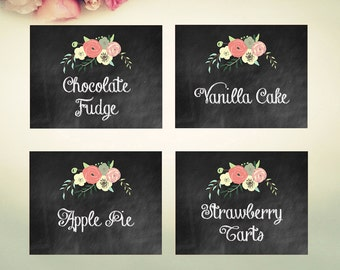 Editable Food Labels INSTANT DOWNLOAD // chalkboard // floral // wedding // party // tent card