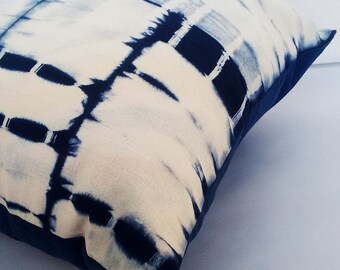 Shibori and batik Indigo (blue shibori cushion cover) pillow cover