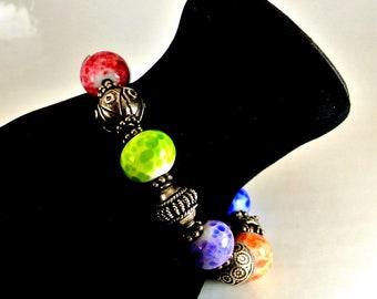 Glass Multi Color Bead Bracelet 8 Inch Bracelet Vintage Bracelet 1990 Glass Bracelet