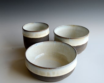 Hand thrown set of 3 bowls