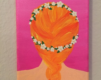 French Braid with Floral Crown Painting