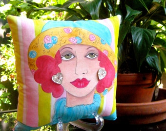 IRIS GARDEN CLUB Pillow, hand painted pillow, gift for gardener, turquoise, soft pink, glass vintage buttons, decorative pillow, green