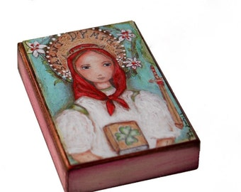 Saint Dymphna - ACEO Giclee print mounted on Wood (2.5 x 3.5 inches) Folk Art  by FLOR LARIOS