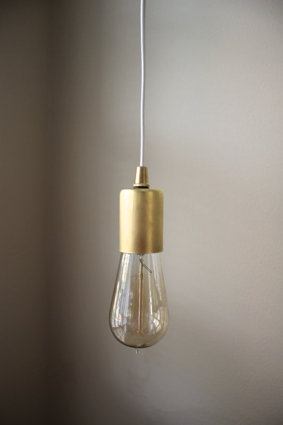 Gold industrial plug in pendant light bare bulb socket brass mozeypictures Image collections