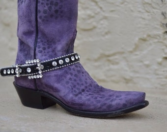 Black leather boot bling Rhinestone-encrusted