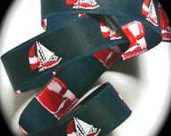 "Sailboat Woven Ribbon - 7/8""  Navy Blue, Red & White"