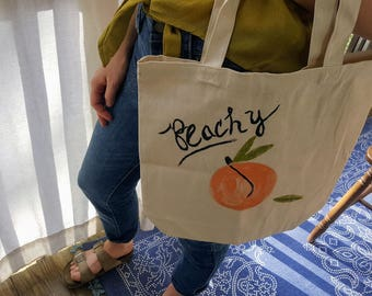 Peachy Hand Painted Market Bag